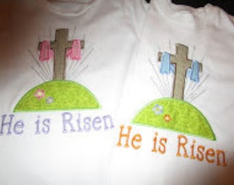 He is Risen Cross Applique Shirt