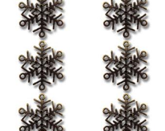 Maya Road Metal Vintage Findings Let It Snow Charms, Snowflake Charms