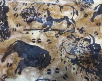 Hoffman Buffalo Bison Batik Saddle  1/2 Yard Free Shipping Cotton Fabric for Quilting