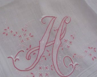 Vintage  Solid White Cotton Hankie Monogrammed H