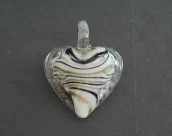 Murano Lampwork Glass heart pendant