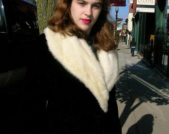 """1950's 32"""" bust, black velvet coat, with white mink shawl  collar"""
