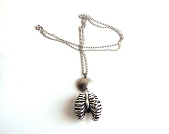 coin & ribcage necklace . 3D ribcage necklace . coin necklace . human ribcage jewelry