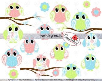 Paisley Owls Clipart Set: Digital Clip Art Pack (300 dpi) Owl Clip Art Tree Branch Digital Baby Shower Nursery