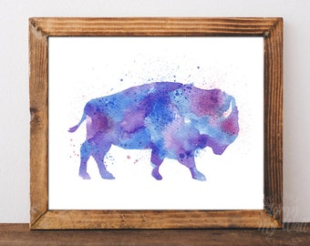 Bison, buffalo, bison print, watercolor bison, bison wall art, bison nursery art, buffalo wall decor, buffalo home decor, bison wall decor