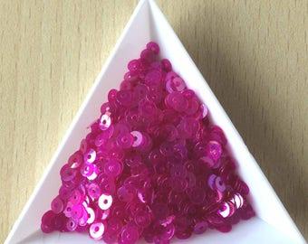 Sequin pink deep iridescent 4 mm in bulk