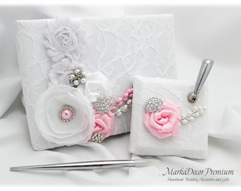 Wedding Lace Guest Book Custom Bridal Books Birthday Flower Brooch Guest Books and Pen Set in White and Pink  with Handmade Flowers