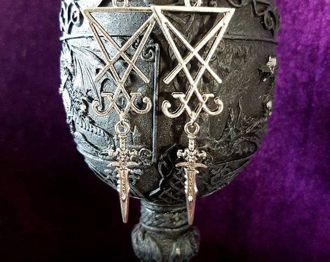 Sigil of Lucifer Athame Earrings - occult ritual seal of lucifer luciferian jewellery