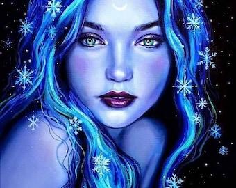 Fantasy art print, Snowflake Goddess, Winter fairy, Winter Goddess Art, Wiccan art, Pagan Goddess art, pagan art print, fantasy illustration