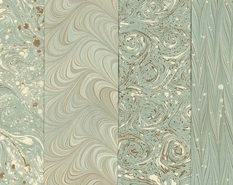 Hand Marbled Paper Set: 4 Sheets 8x11 (Pale Patterns)
