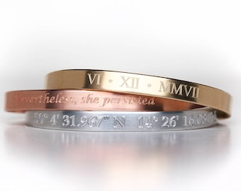 Custom Engraved Bracelet - Personalized Jewelry - Copper - Brass - Stainless - Engraved Bracelet - Engraved Jewelry - Custom Engraving