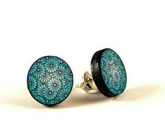 Blue Flower - handmade stud earrings - decoupage, Blue Flower Jewelry