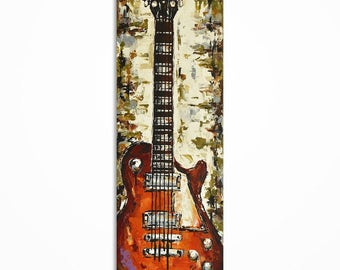 Guitar painting, Guitar wall art, Music Art, Music Artwork Gift for a musician, Original Les Paul guitar painting on canvas. MADE TO ORDER