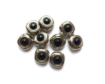 9 Black & Silver Vintage Plastic Buttons