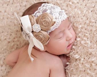 Champagne rosette headband, girls couture headband, lace vintage girls headband, newborn headband, infant girls headband, baby, posh peanut