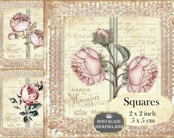Lace Roses Squares 2x2 inch squares Instant Download Iron on Fabric Transfer digital collage sheet TW105