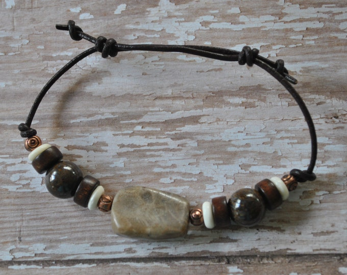 Petoskey Stone Bracelet on leather with copper beads, Bronzite beads, Up North, bracelet, Michigan