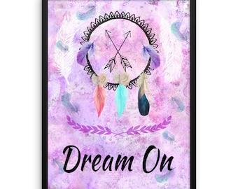 Dream On Boho Framed photo paper poster