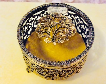Vintage Jewelry Casket Ormolu Floral Rose is Gold Filigree and Beveled Glass Prong Set Footed