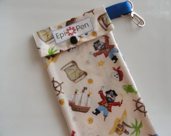 Epi Pen Carrier Easy to View Clear Front  / Swivel Clip 4x8 Holds 2 Allergy Auto Injector Pens -  Pirate Toss Fabric