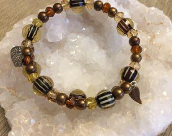 Bronze, Gold and Black Single Strand Memory  Wire Bracelet