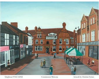 Sandbach High Street - original oil painting on linen canvas by Christian Turner