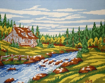 """Beautiful vintage completed needlepoint - HOUSE by the RIVER  20"""" X 16"""""""