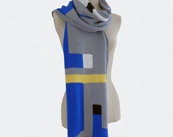 Graphic intarsia knitted scarf, Tribute to Italian Design