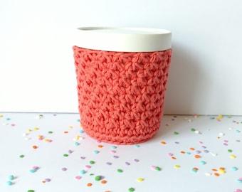 Ice Cream Cozy Pint Cover Sleeve Crochet Knit Cotton / Friend Neighbor Family Teacher Gift Stocking Stuffer / Colorway Salmon Pink