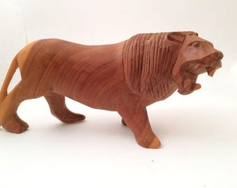 """Vintage Carved Wood Lion Sculpture Figurine Carving 4x9"""""""