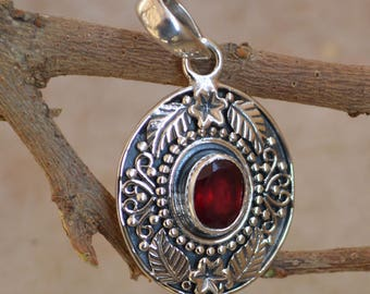 Red Garnet Pendant/Necklace,Solitaire Pendant Sterling Silver with Red Garnet Stone Sterling Silver Pendant 6x8 MM Gemstone Garnet Pendants