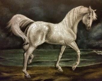 Velvet Painting~ Original Hand Painted~Horse on Beach