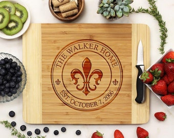 Personalized Cutting Board, Custom Cutting Board, Engraved Cutting Board, Family Crest Housewarming Anniversary Bamboo Wood --21075-CUTB-001