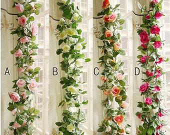 """Flower Ivy Length 2.3m/90"""" Artificial Silk Rose Garland 2 Strands Fake Flower Ivy Leaf Vine Plants Home Hanging  Wedding Decoration"""