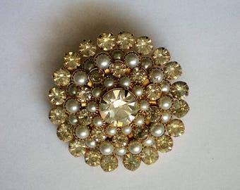 Glitzy Rhinestone and Cultured Pearl Brooch - 5280