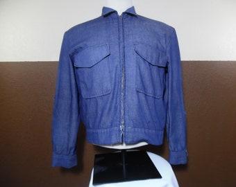 Vintage 1960s Handmade Rare JEAN JACKET Selvedge Front Facing Trucker Blue Denim Fits like Womens S/M Please Check All Measurements