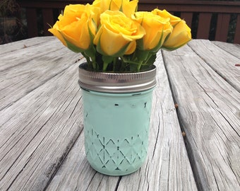 Painted Mason Jars / Mint Mason Jar / 8oz Quilted Mason Jar / Mason Jar Decor / Wedding Centerpieces / Country Chic / Baby Shower Decor