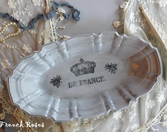 """French Crown 12"""" Tray Gray With Bees Oblong Vintage Shabby Romantic French Cottage Farmhouse Wedding Style Decor"""