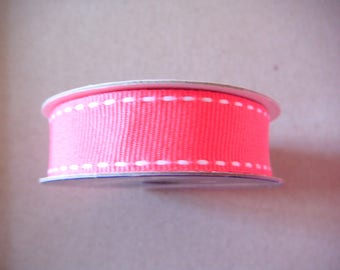 x 4 meter Ribbon grosgrain plain stitched fuchsia polyester white 15 mm