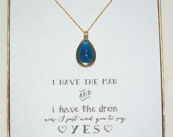 Navy Blue Bridesmaid Gold Necklace, Bridesmaid Blue Necklace, Bridesmaid Jewelry Gift, Bridal Party Gifts, Dark Blue, NK1