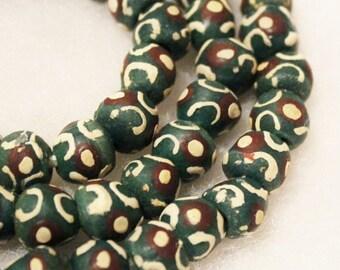 Dark Green African Beads (10), Krobo Beads, Ethnic Beads (B78)