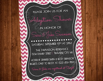 Chevron Adoption Shower Invitation Printable (Many Colors Available!)