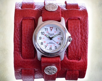 Women's Red 3 Strap Leather Cuff Watch