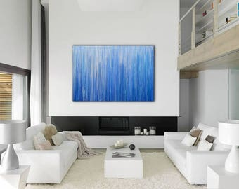 ABSTRACT PAINTING Large Canvas Art Custom Unstretched Original Painting Blue Abstarct Original Art Wall Art Oil Painting Blue Painting