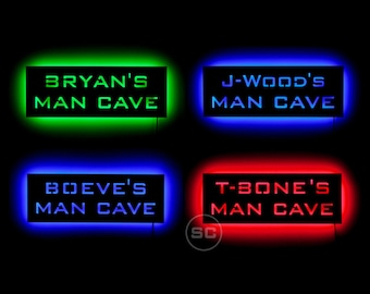 Custom Man Cave Sign - Lighted LED Personalized Man Cave Sign Gift With Your Own Custom Name!