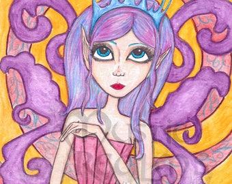Purple fairy, Fantasy art, Fairy art print, faerie artwork, big eyed girl, print, purple red and yellow, nursery room art
