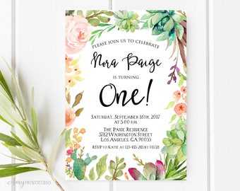 1st Birthday Invitation, Floral First Birthday Invitation, Girl Birthday Invitation, Floral Invite, PERSONALIZED, Digital file, #K05