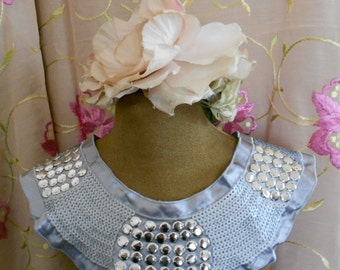 Gray Sequined Silver Beaded Appliques
