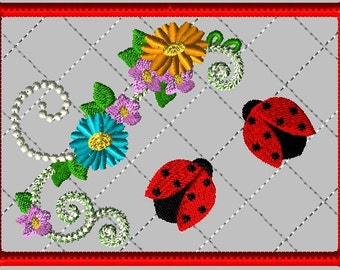 Machine Embroidery Design-ITH-Mug Rug-Double Ladybug with Flowers includes 2 sizes, 5x7 and 6x10 hoops