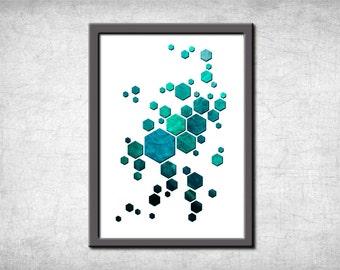 Wall Art Print, Digital Print, Geometric print, Geometric Wall Art, Modern Abstract, Minimalism, Blue Green Print, Turquoise, Hexagon